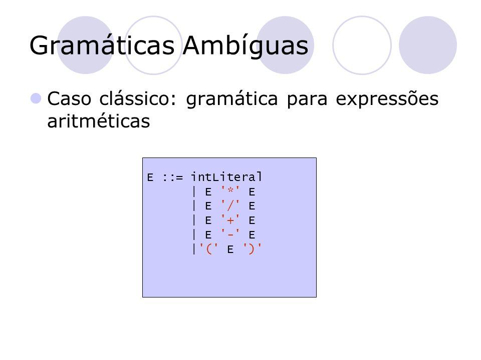 Gramáticas Ambíguas Caso clássico: gramática para expressões aritméticas. E ::= intLiteral. | E * E.