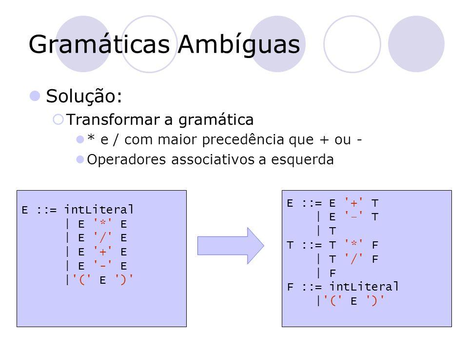 Gramáticas Ambíguas Solução: Transformar a gramática