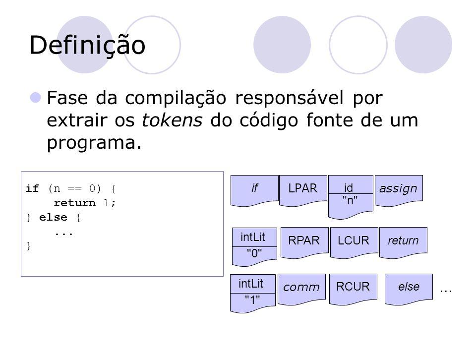 Definição Fase da compilação responsável por extrair os tokens do código fonte de um programa. if (n == 0) {