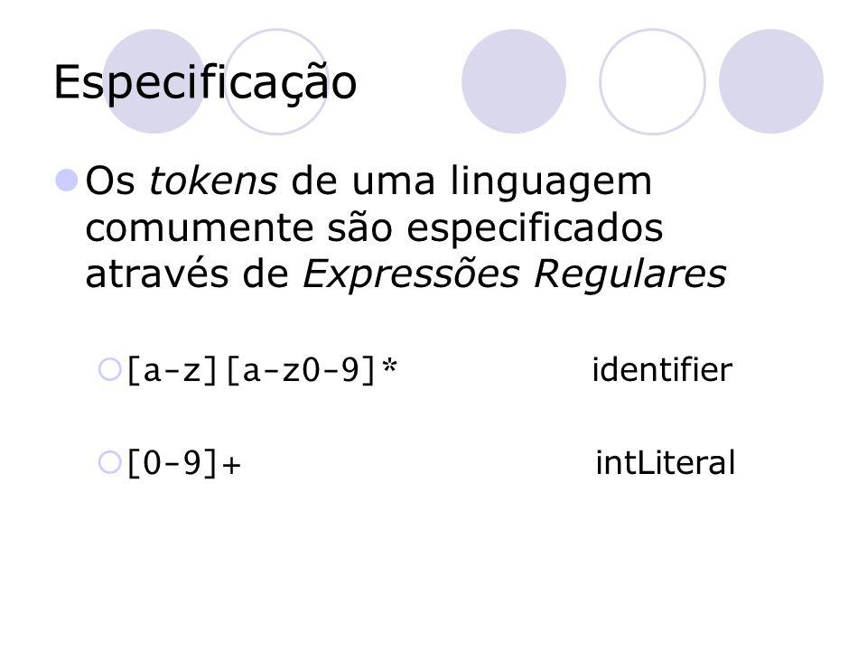 Especificação Os tokens de uma linguagem comumente são especificados através de Expressões Regulares.