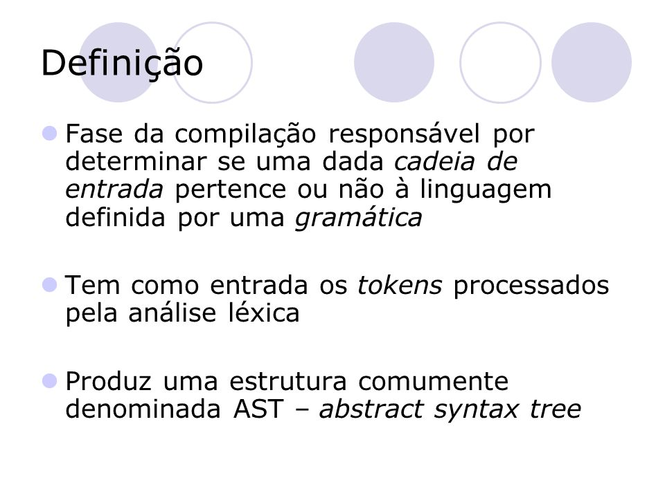 Definição Fase da compilação responsável por determinar se uma dada cadeia de entrada pertence ou não à linguagem definida por uma gramática.