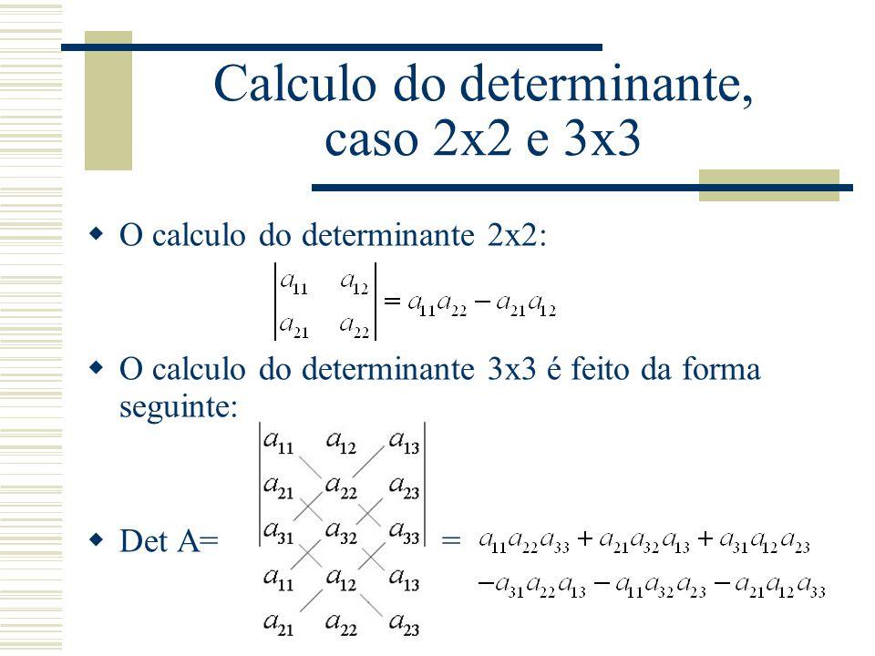 Calculo do determinante, caso 2x2 e 3x3