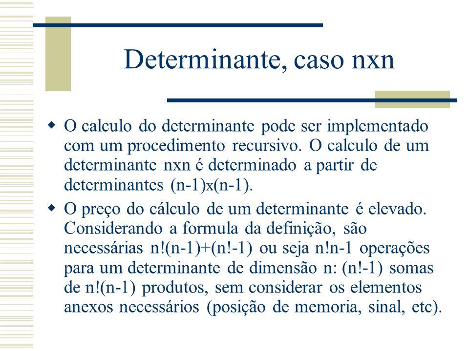 Determinante, caso nxn