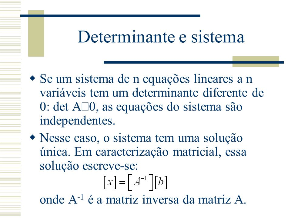 Determinante e sistema