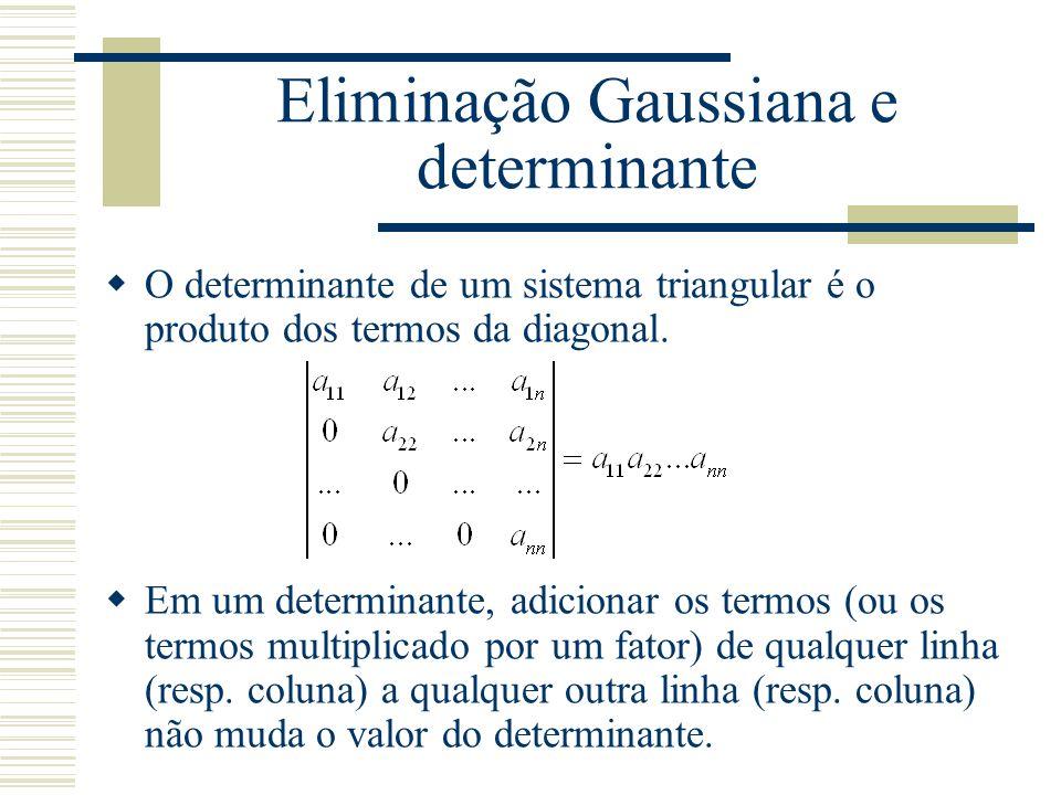 Eliminação Gaussiana e determinante