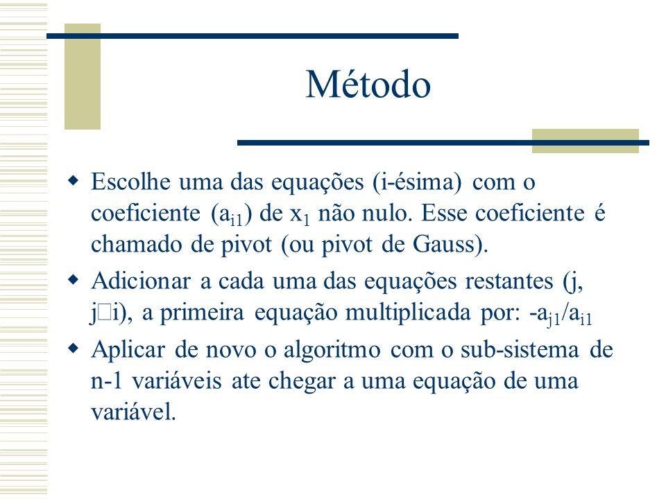 Método Escolhe uma das equações (i-ésima) com o coeficiente (ai1) de x1 não nulo. Esse coeficiente é chamado de pivot (ou pivot de Gauss).