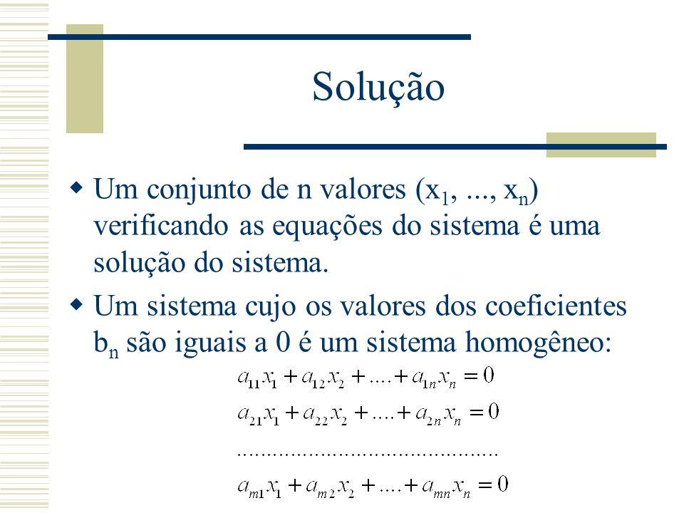 Solução Um conjunto de n valores (x1, ..., xn) verificando as equações do sistema é uma solução do sistema.