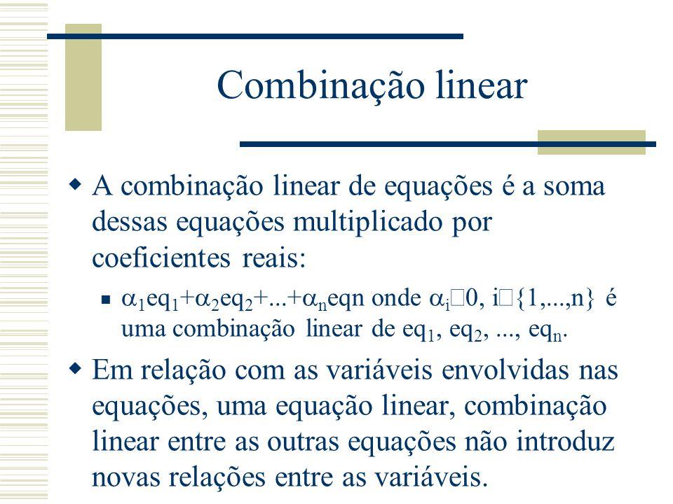 Combinação linear A combinação linear de equações é a soma dessas equações multiplicado por coeficientes reais:
