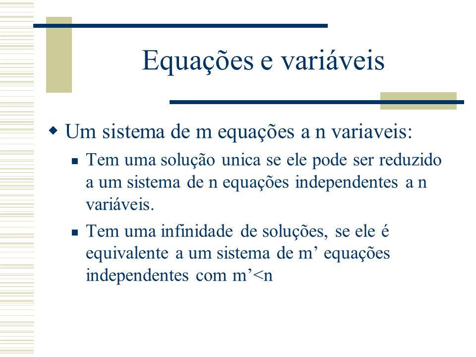 Equações e variáveis Um sistema de m equações a n variaveis: