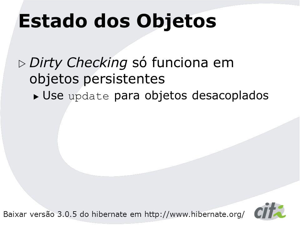 Estado dos Objetos Dirty Checking só funciona em objetos persistentes