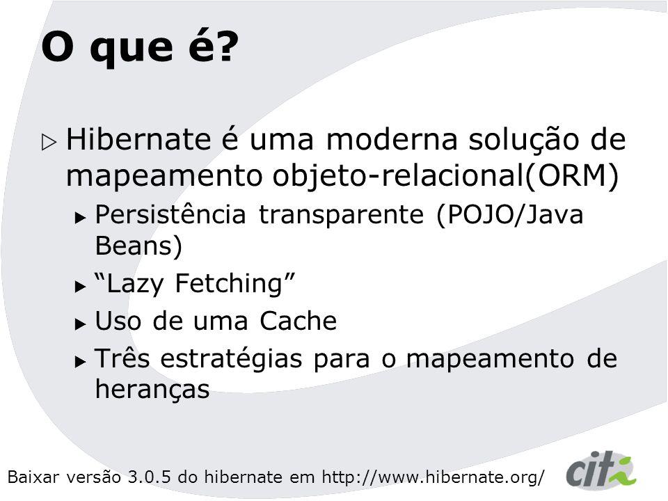 O que é Hibernate é uma moderna solução de mapeamento objeto-relacional(ORM) Persistência transparente (POJO/Java Beans)