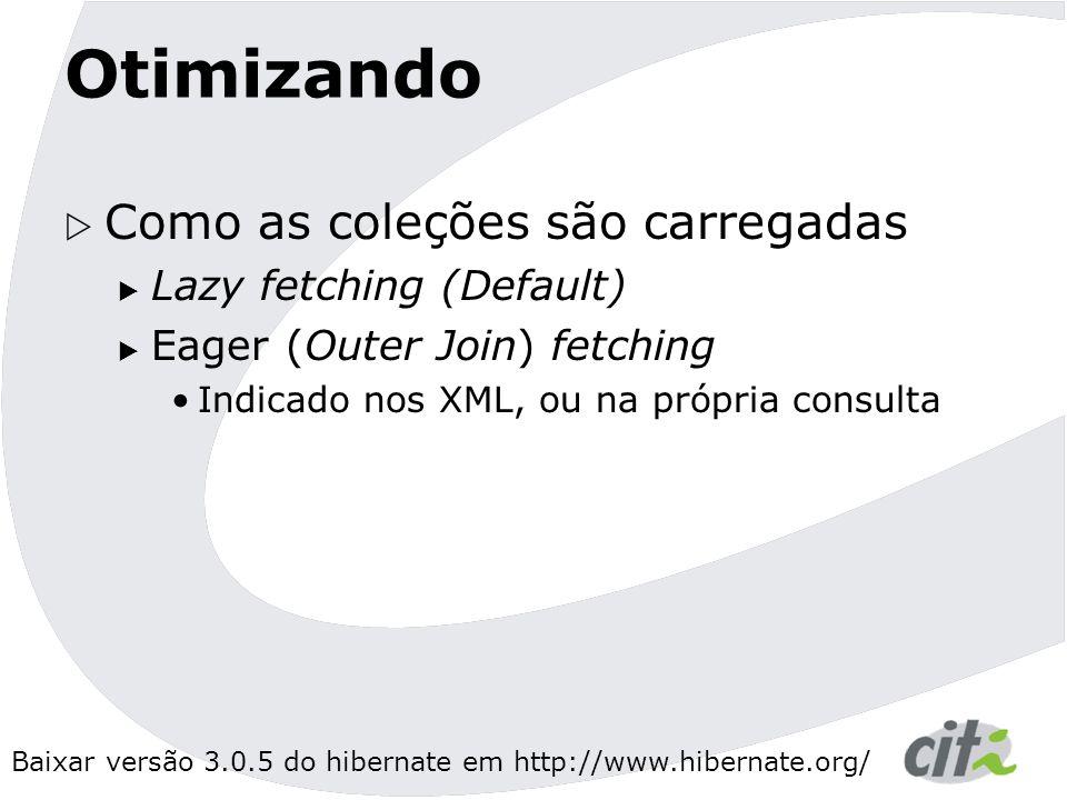 Otimizando Como as coleções são carregadas Lazy fetching (Default)