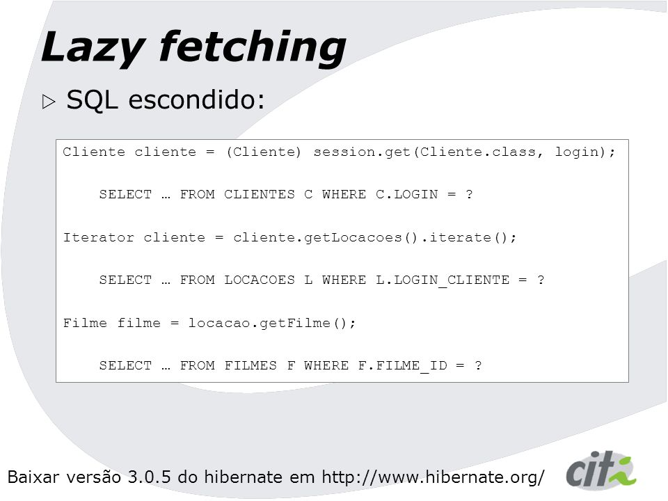 Lazy fetching SQL escondido: