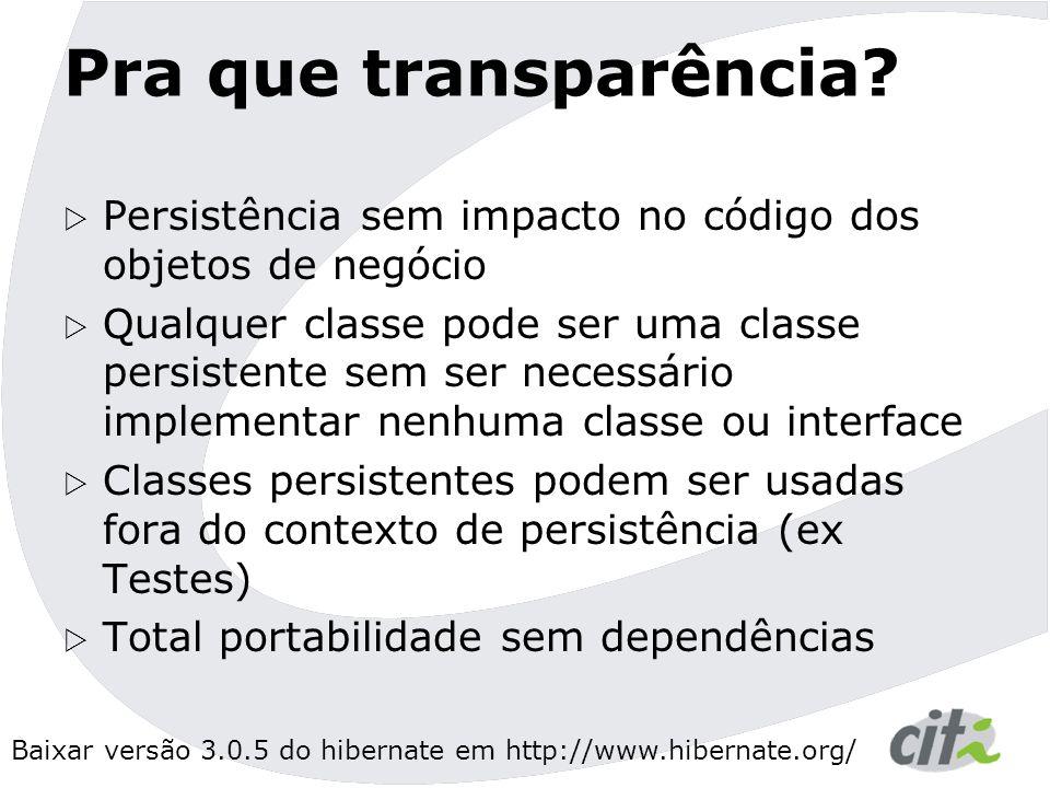 Pra que transparência Persistência sem impacto no código dos objetos de negócio.