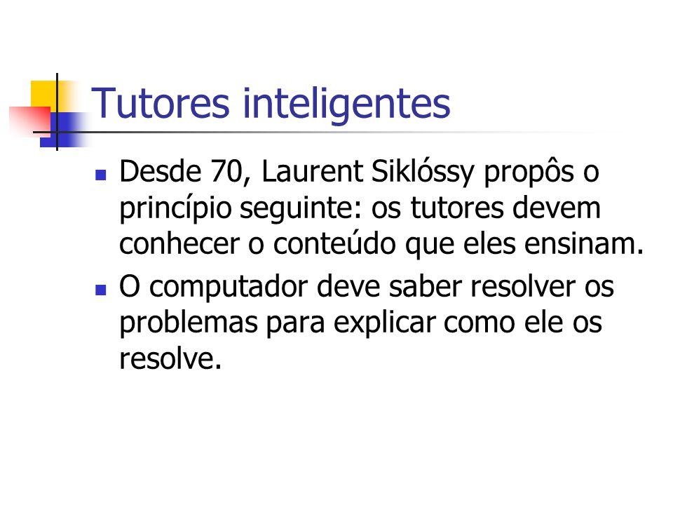 Tutores inteligentes Desde 70, Laurent Siklóssy propôs o princípio seguinte: os tutores devem conhecer o conteúdo que eles ensinam.