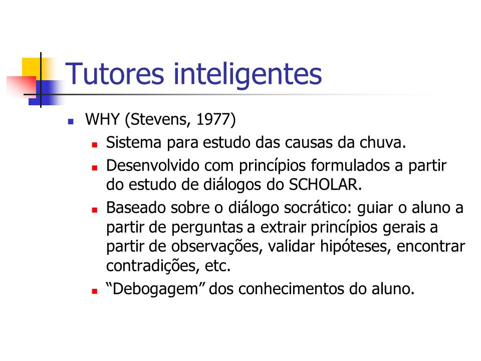 Tutores inteligentes WHY (Stevens, 1977)