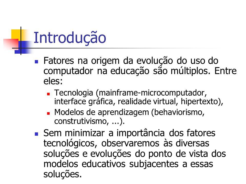 Introdução Fatores na origem da evolução do uso do computador na educação são múltiplos. Entre eles: