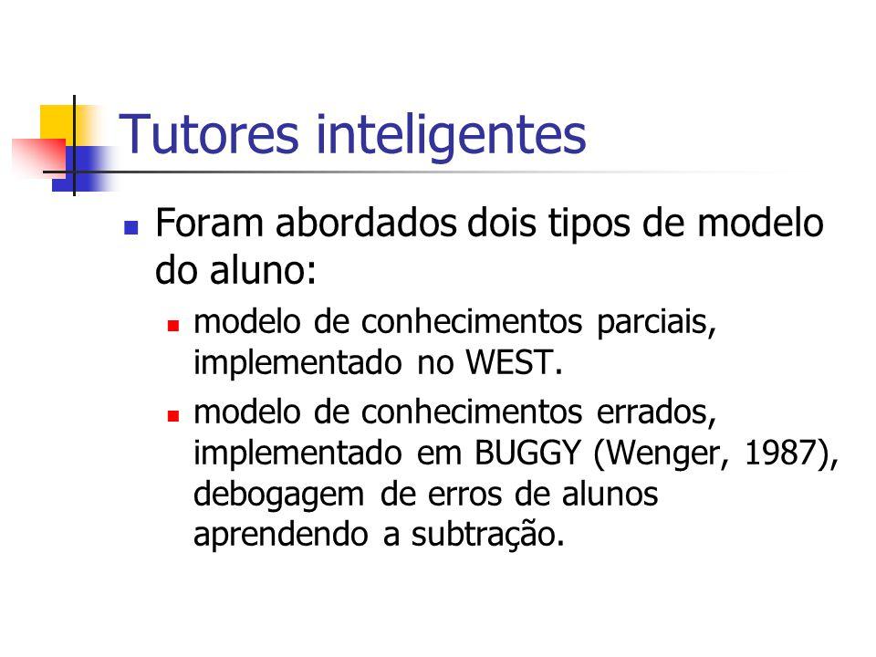 Tutores inteligentes Foram abordados dois tipos de modelo do aluno: