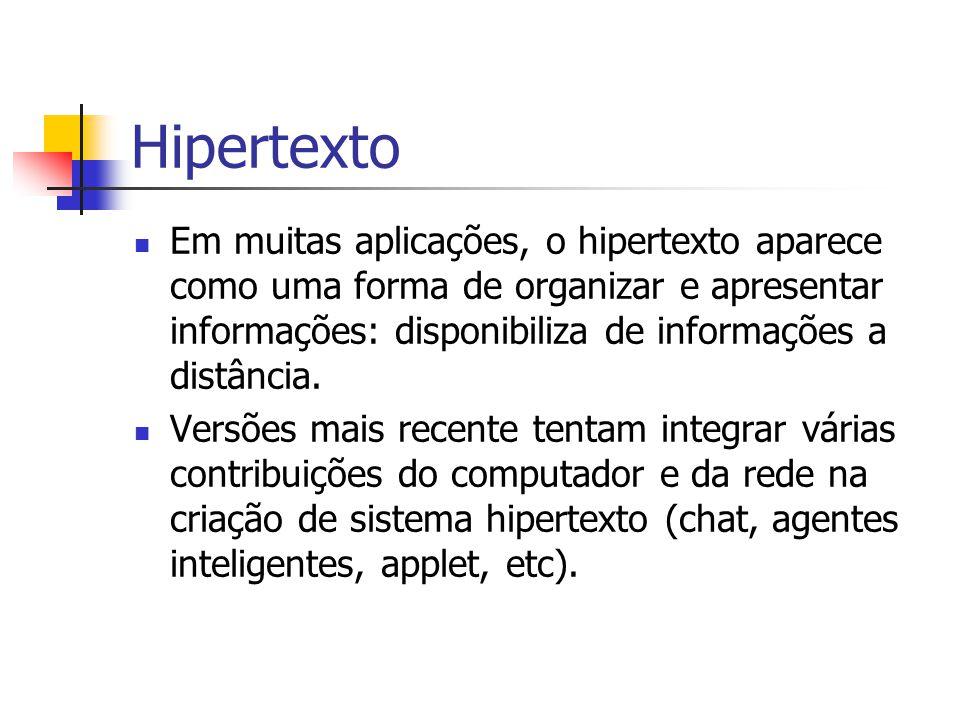 Hipertexto Em muitas aplicações, o hipertexto aparece como uma forma de organizar e apresentar informações: disponibiliza de informações a distância.