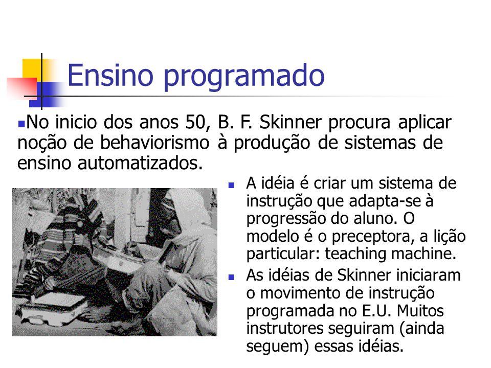 Ensino programado No inicio dos anos 50, B. F. Skinner procura aplicar noção de behaviorismo à produção de sistemas de ensino automatizados.