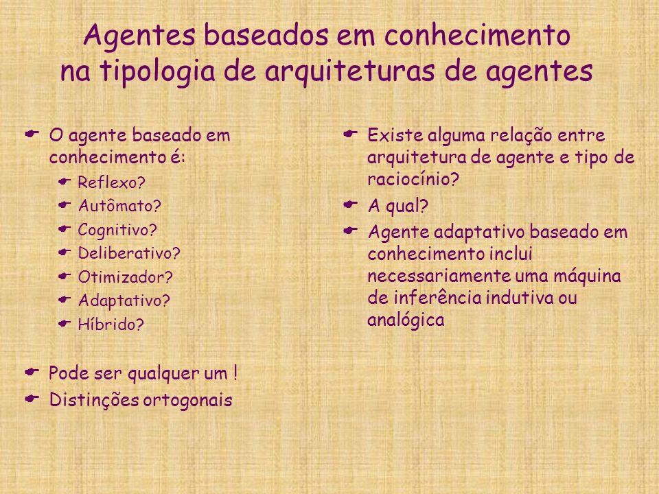 Agentes baseados em conhecimento na tipologia de arquiteturas de agentes