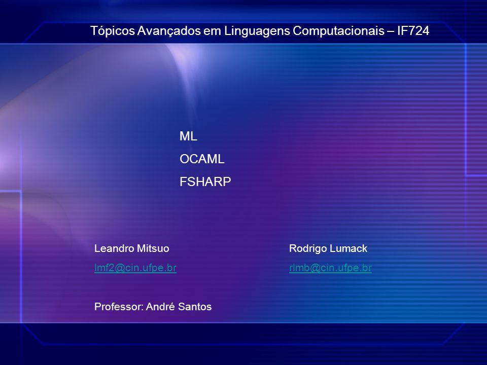 Tópicos Avançados em Linguagens Computacionais – IF724