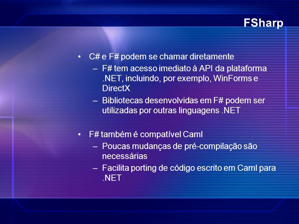 FSharp C# e F# podem se chamar diretamente