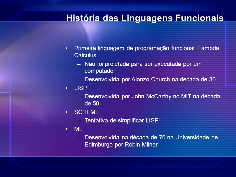 História das Linguagens Funcionais