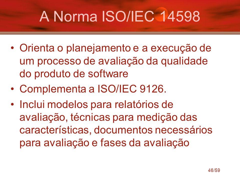 A Norma ISO/IEC 14598 Orienta o planejamento e a execução de um processo de avaliação da qualidade do produto de software.