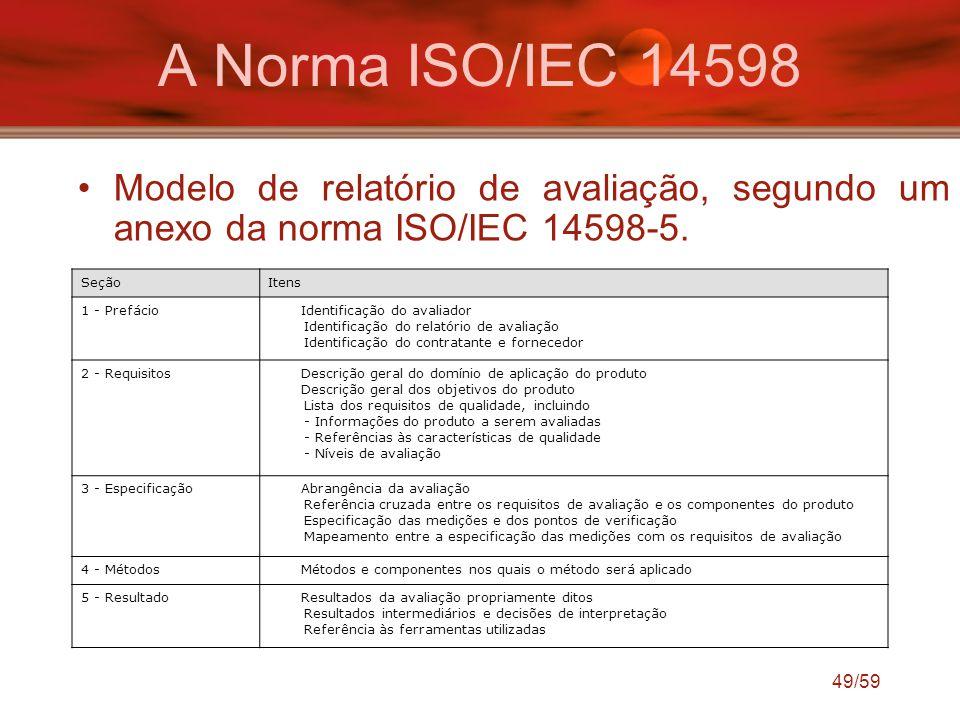 A Norma ISO/IEC 14598 Modelo de relatório de avaliação, segundo um anexo da norma ISO/IEC 14598-5. Seção.