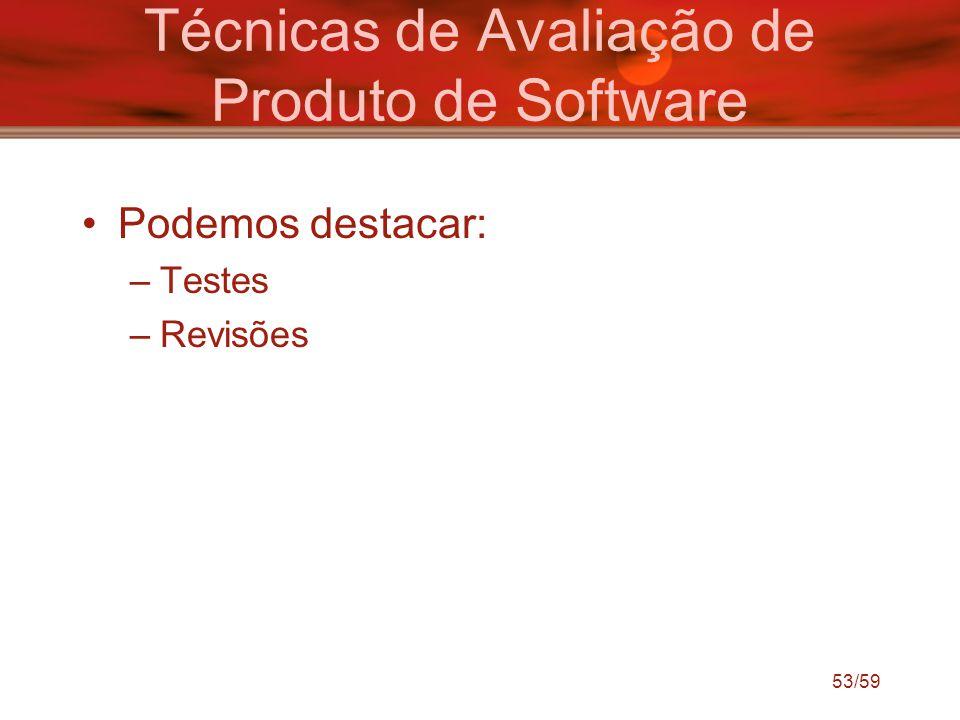 Técnicas de Avaliação de Produto de Software