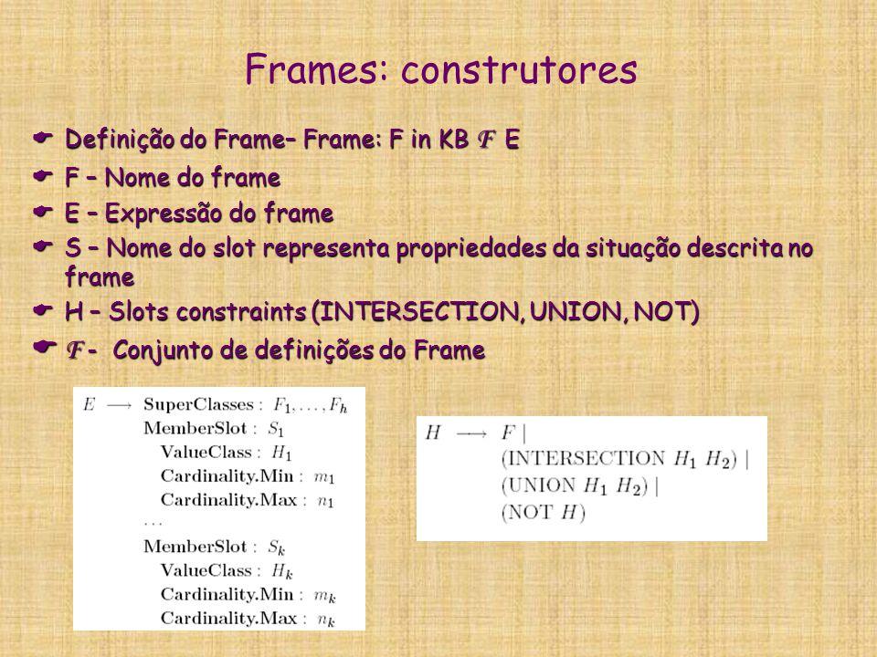 Frames: construtores F - Conjunto de definições do Frame
