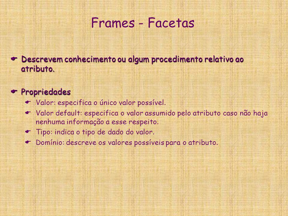 Frames - Facetas Descrevem conhecimento ou algum procedimento relativo ao atributo. Propriedades. Valor: especifica o único valor possível.
