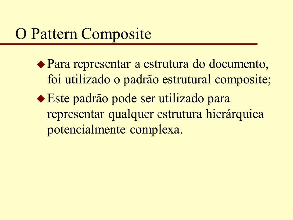 O Pattern Composite Para representar a estrutura do documento, foi utilizado o padrão estrutural composite;
