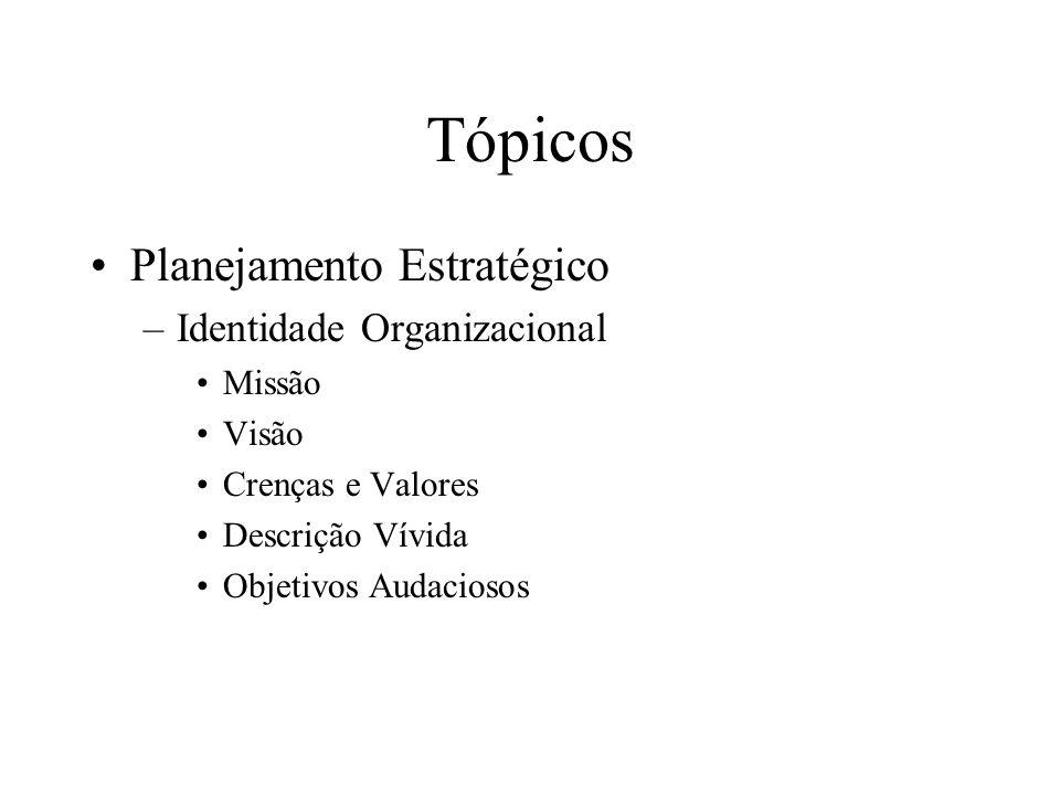 Tópicos Planejamento Estratégico Identidade Organizacional Missão