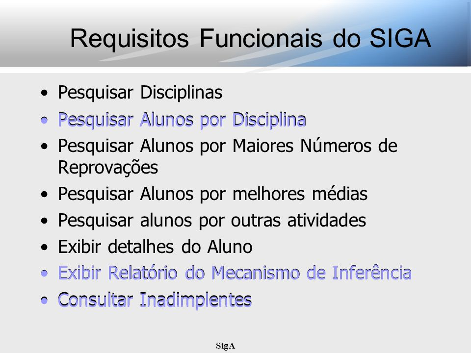 Requisitos Funcionais do SIGA