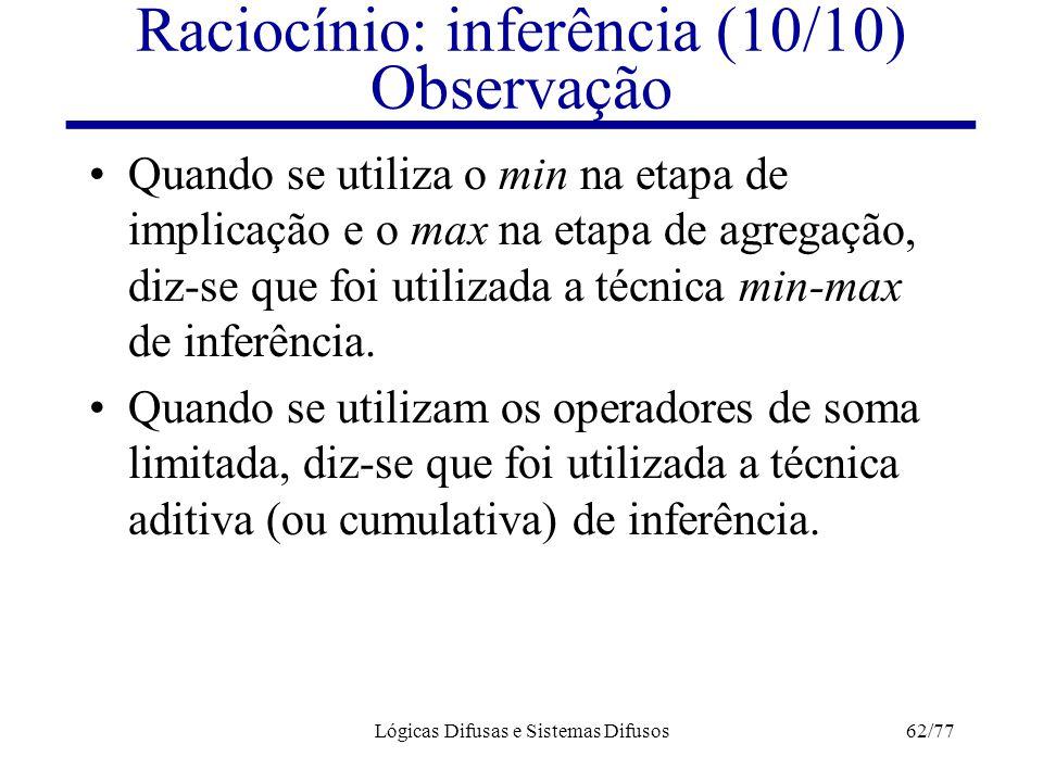 Raciocínio: inferência (10/10) Observação