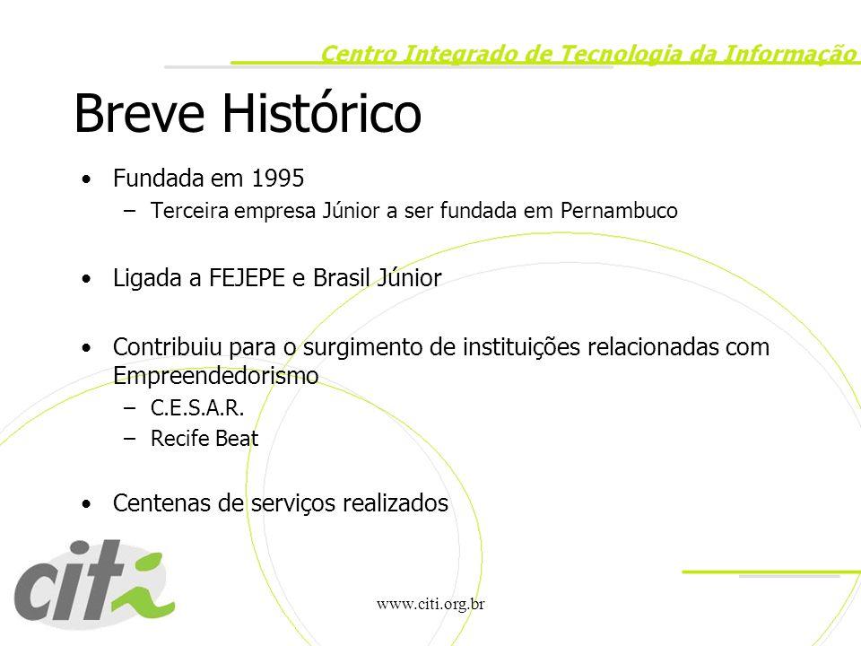 Breve Histórico Fundada em 1995 Ligada a FEJEPE e Brasil Júnior
