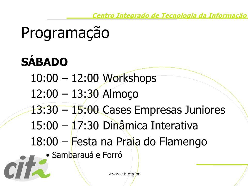 Programação SÁBADO 10:00 – 12:00 Workshops 12:00 – 13:30 Almoço