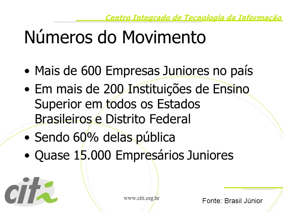 Números do Movimento Mais de 600 Empresas Juniores no país