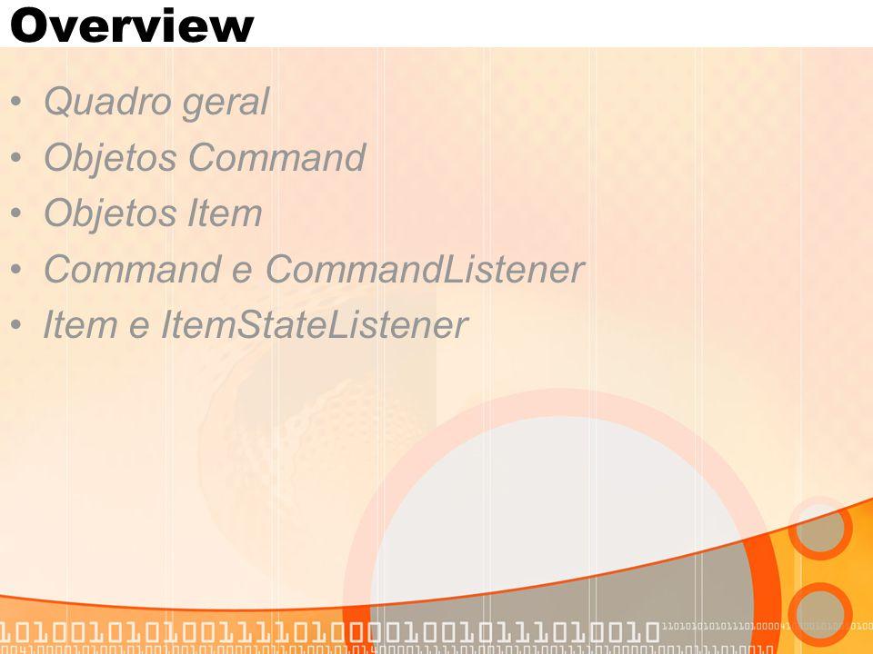 Overview Quadro geral Objetos Command Objetos Item