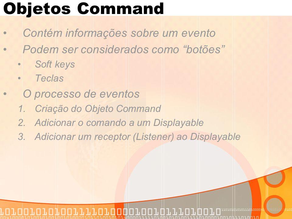 Objetos Command Contém informações sobre um evento