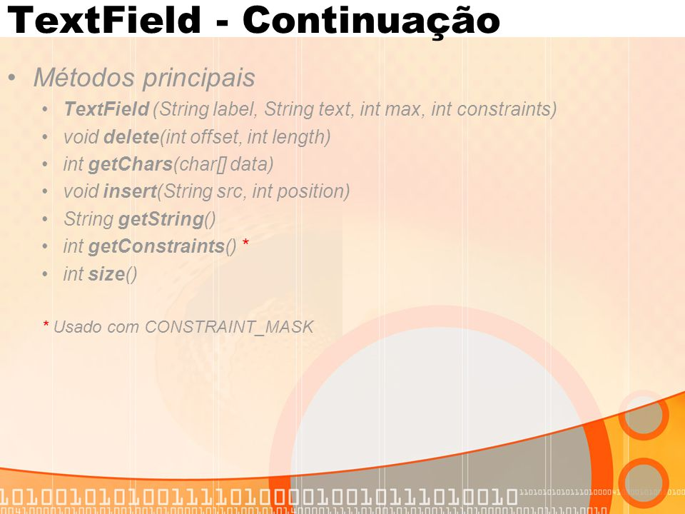 TextField - Continuação