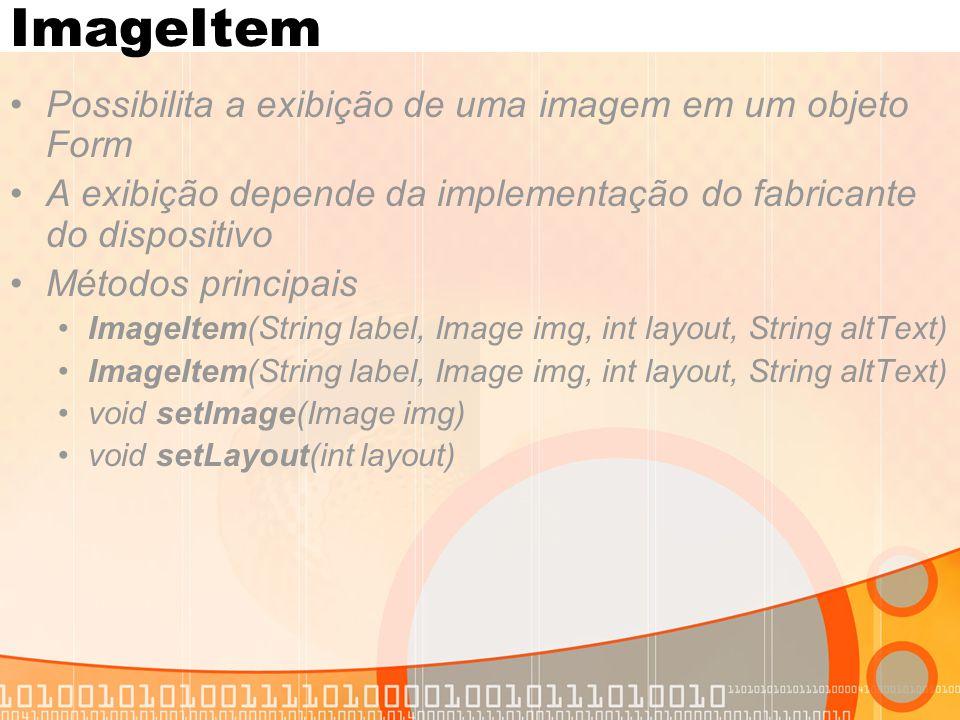ImageItem Possibilita a exibição de uma imagem em um objeto Form