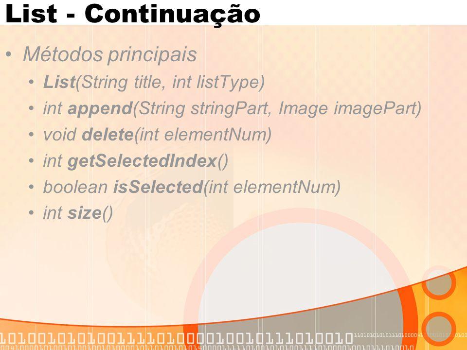 List - Continuação Métodos principais List(String title, int listType)