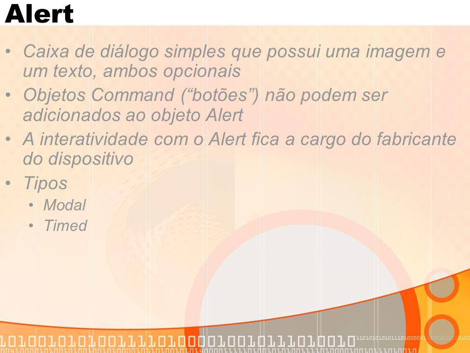 Alert Caixa de diálogo simples que possui uma imagem e um texto, ambos opcionais.