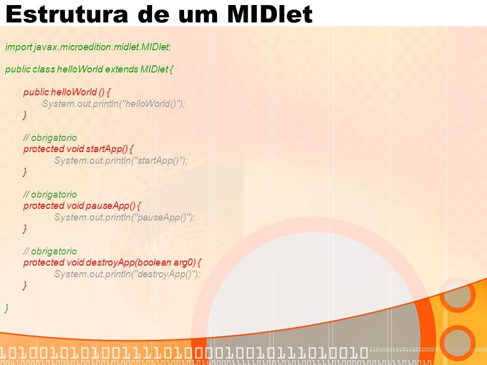 Estrutura de um MIDlet import javax.microedition.midlet.MIDlet;