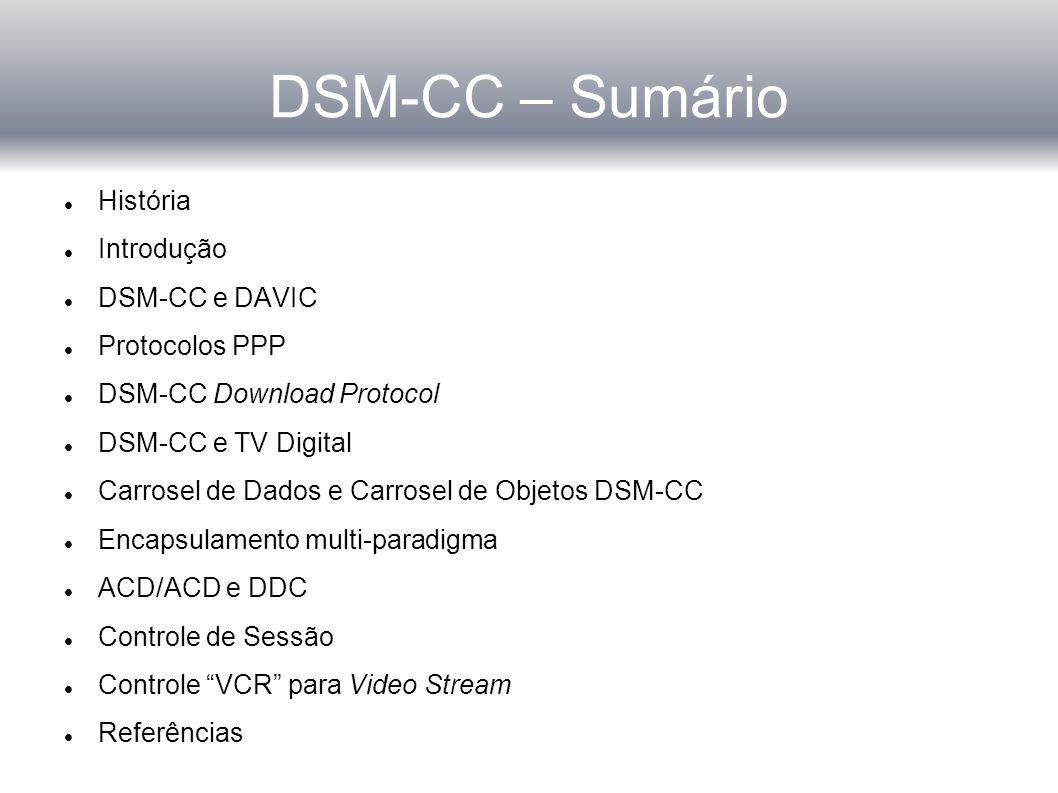 DSM-CC – Sumário História Introdução DSM-CC e DAVIC Protocolos PPP