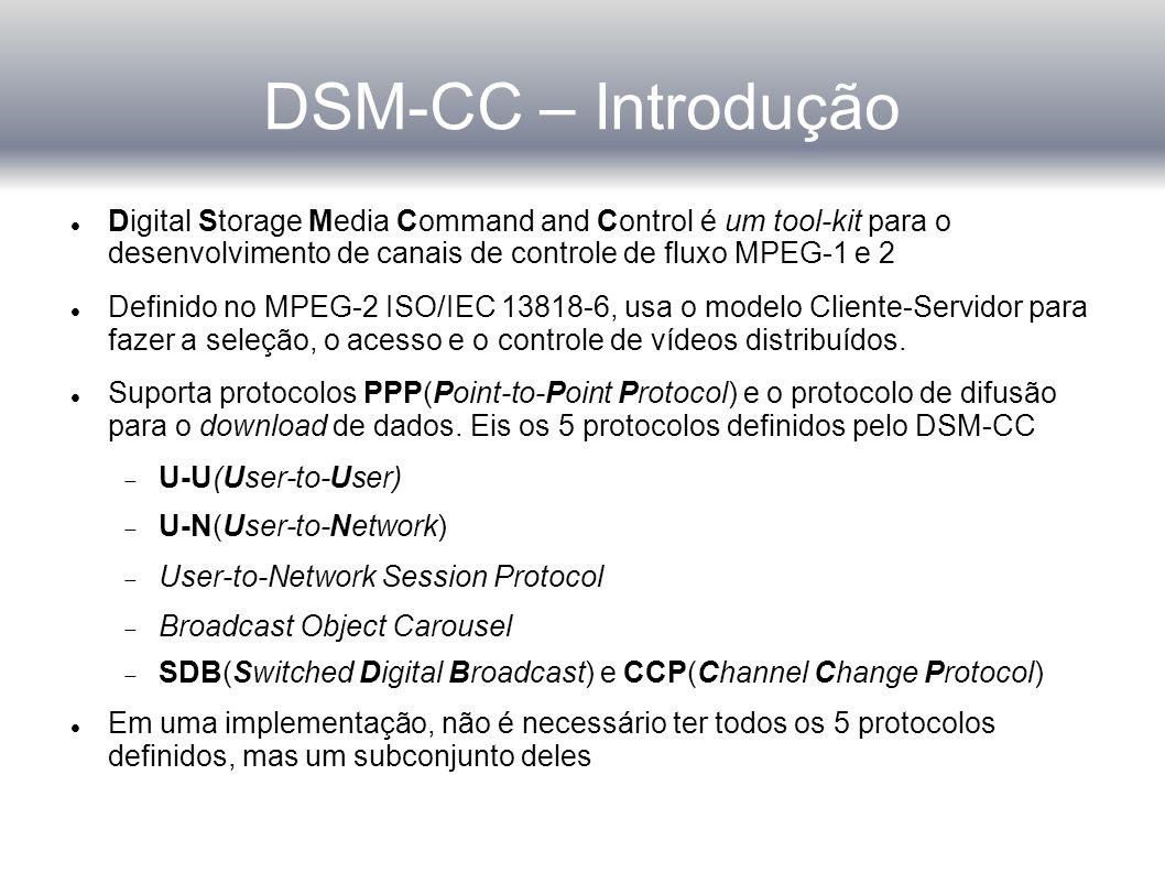 DSM-CC – Introdução Digital Storage Media Command and Control é um tool-kit para o desenvolvimento de canais de controle de fluxo MPEG-1 e 2.