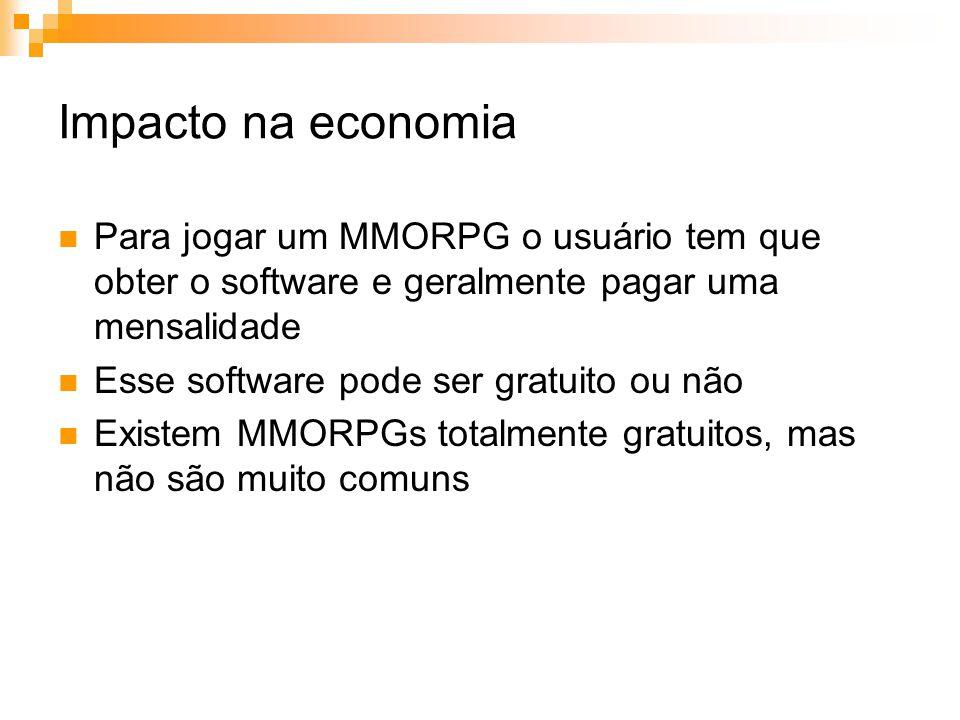 Impacto na economia Para jogar um MMORPG o usuário tem que obter o software e geralmente pagar uma mensalidade.